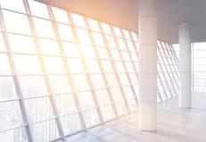 Inre för rymligt kontor med solljus stock illustrationer