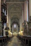 Inre för St John Baptist Cathedral i den gamla staden Torun, Polen Royaltyfri Foto