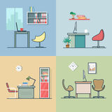 Inre för stol för tabell för kontorsrumarbetsplats inomhus vektor illustrationer