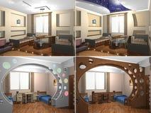 sovrum för 3D Childs Arkivbild