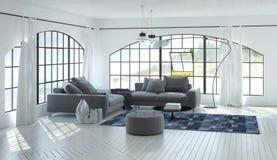 inre för vardagsrum 3D av luftig vardagsrum Arkivfoton
