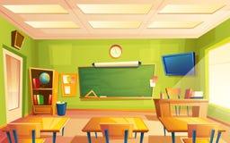 Inre för vektorskolaklassrum, utbildande rum Universitet bildande begrepp, svart tavla, tabellhögskolamöblemang fotografering för bildbyråer