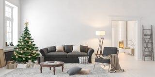 Inre för vit scandinavian för jul klassisk med trädet, gåvor, soffa, vardagsrumfåtölj, spis stock illustrationer