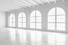 Inre för vitt rum, öppet utrymmemodell arkivbild