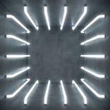inre för vitt rum för abstrakt begrepp för illustration 3D med neonlampor för vitt glöd futuristic arkitekturbakgrund Tom vit royaltyfri illustrationer