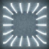 inre för vitt rum för abstrakt begrepp för illustration 3D med neonlampor för vitt glöd futuristic arkitekturbakgrund Tom vit vektor illustrationer