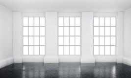 Inre för vitt rum med franska fönster och betonggolvet Arkivfoton