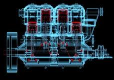 Inre förbränningsmotor (röda och blåa genomskinliga för röntgenstråle 3D) Royaltyfria Foton