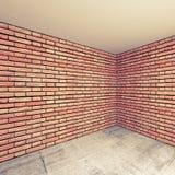 Inre fragment för tomt rum med väggar för röd tegelsten bakgrund 3d Arkivbilder