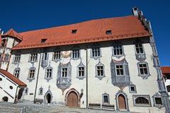 Inre gård av den Fussen slotten i Tyskland Fotografering för Bildbyråer