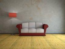 inre gammal sofa Arkivbild