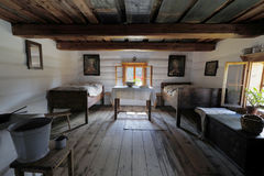 inre gammalt trä för hus Arkivfoto