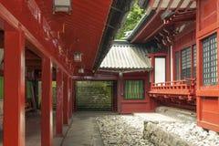 Inre gård för japansk tempel Arkivfoton