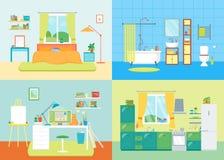 Inre grundläggande rum för tecknad film av hemmet vektor royaltyfri illustrationer