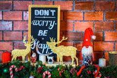 Inre härlig jul Garneringar för nytt år för tegelsten Arkivbilder