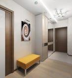 Inre hall med dörrar och en stol med den stoppade platsen royaltyfri illustrationer