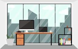 Inre illustration för kontorsworkspacedesign i lägenhet Affärsidéen anmärker beståndsdelen Arkivfoton