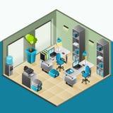 Inre isometrisk design för kontor royaltyfri illustrationer