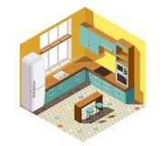 Inre isometrisk sammansättning för kök Royaltyfri Fotografi