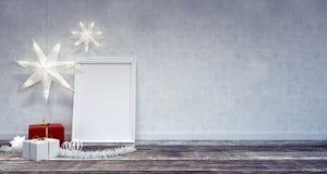 Inre julgarnering med den vita ramen Fotografering för Bildbyråer