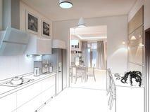 inre kök illustrationen 3D, framför Arkivfoton