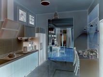inre kök illustrationen 3D, framför Royaltyfri Bild