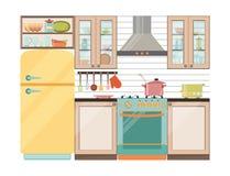inre kök Kökanordningar och redskap Royaltyfria Bilder