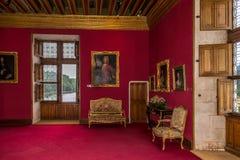 Inre kammare i den Chenonceau chateauen Arkivfoton