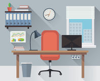 Inre kontorsarbetsplatsvektor arkivfoton
