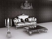 inre kunglig sofa för barockt möblemang royaltyfri illustrationer