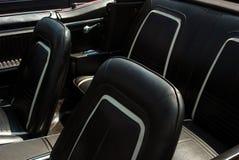 inre läder för svart bil Fotografering för Bildbyråer
