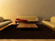 inre lokal för soffa som sitter tre Fotografering för Bildbyråer