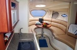 inre lyxig ny yacht Royaltyfri Fotografi