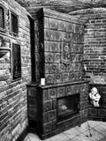 inre lyxig slott Konstnärlig blick i svartvitt Arkivbild