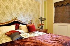 inre lyxig stil för sovrum Arkivbilder