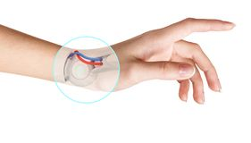 Inre mänsklig hand för robothand Handprotesbegrepp royaltyfri fotografi
