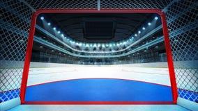 Inre mål för allmän hockeystadionsikt Arkivbild