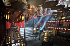 Inre man Mo Temple, glåmiga Sheung, Hong Kong Island Royaltyfria Foton