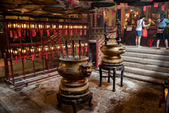 Inre man Mo Temple Hong Kong Royaltyfria Foton