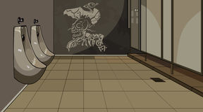 Inre manlig toalett med pissoar stock illustrationer