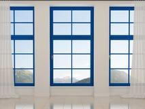 Inre med blåa fönster royaltyfri fotografi