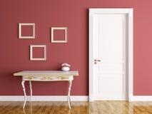 Inre med dörren och tabellen Fotografering för Bildbyråer