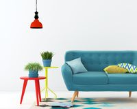Inre med en blå soffa stock illustrationer