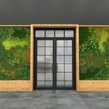 Inre med en glass ingångsdörr och gräsplanvägg med vertikalt arbeta i trädgården Stilvind visualization 3d Royaltyfria Foton