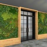 Inre med en glass ingångsdörr och gräsplanvägg med vertikalt arbeta i trädgården Stilvind visualization 3d Royaltyfri Foto
