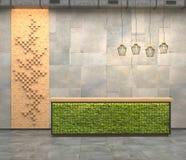 Inre med ett mottagandeskrivbord med mossa i vindstilen Dekorativa paneler på väggen av de fyrkantiga trästängerna visualiza 3d Royaltyfria Bilder