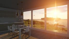 Inre med glass dörrar på solnedgånghavslandskap stock video