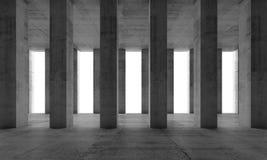 Inre med konkreta kolonner och vita fönster, 3d Royaltyfri Fotografi
