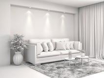 Inre med soffa- och CAD-wireframeingreppet illustration 3d Arkivfoton