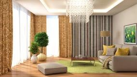 Inre med soffa- och gulinggardiner illustration 3d Arkivbilder